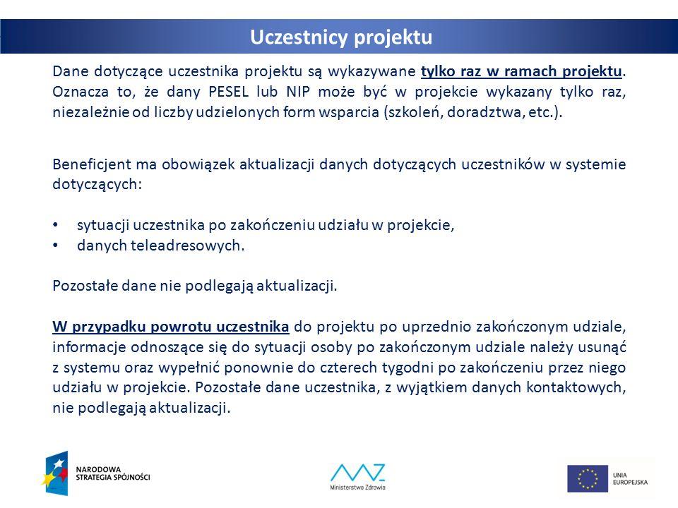 29 Dane dotyczące uczestnika projektu są wykazywane tylko raz w ramach projektu. Oznacza to, że dany PESEL lub NIP może być w projekcie wykazany tylko