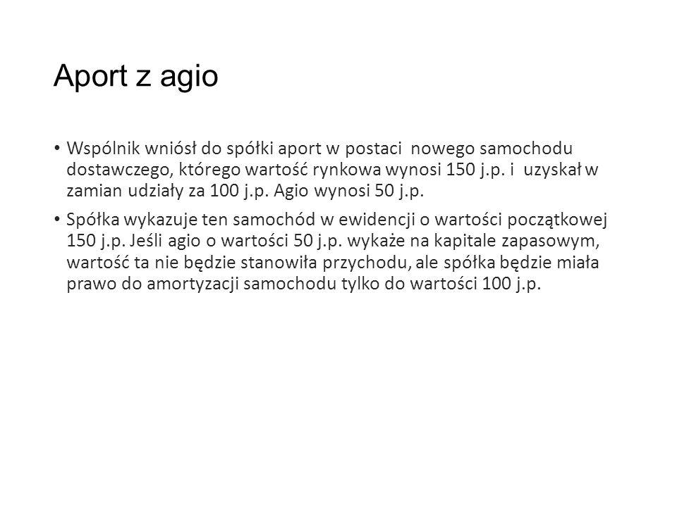 Aport z agio Wspólnik wniósł do spółki aport w postaci nowego samochodu dostawczego, którego wartość rynkowa wynosi 150 j.p.