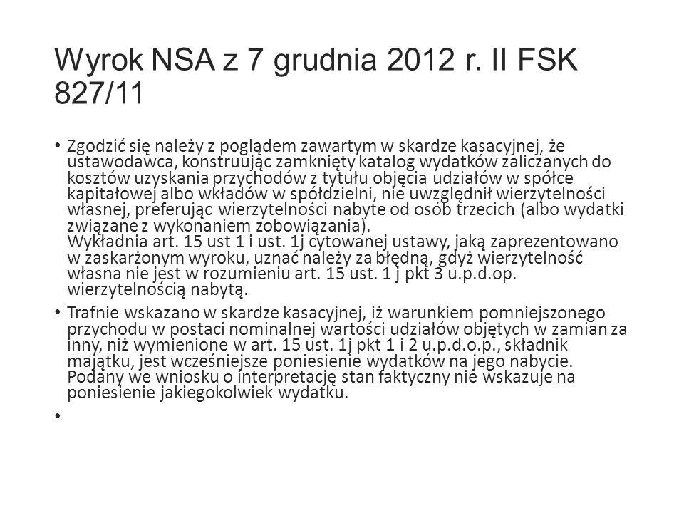 Wyrok NSA z 7 grudnia 2012 r.