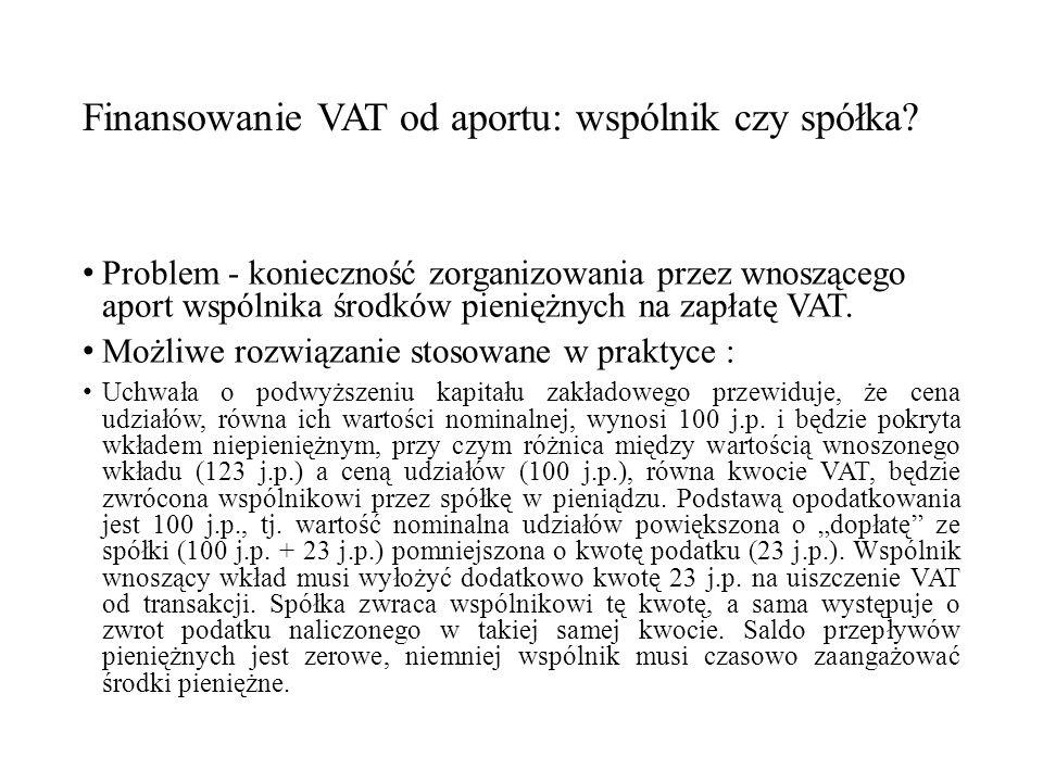 Finansowanie VAT od aportu: wspólnik czy spółka.