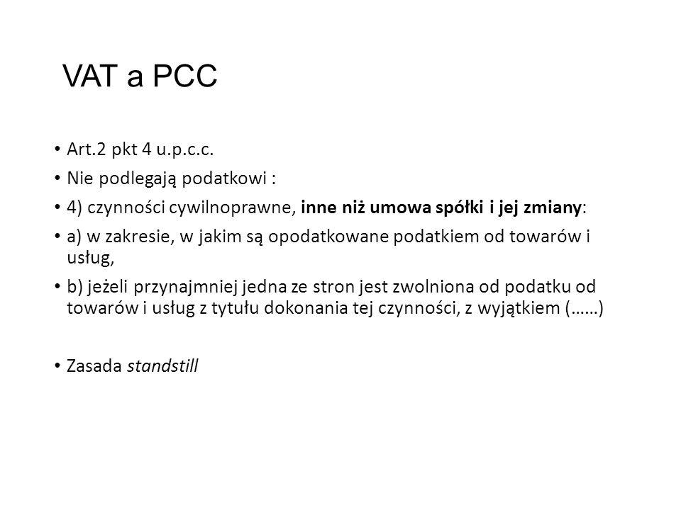 VAT a PCC Art.2 pkt 4 u.p.c.c.