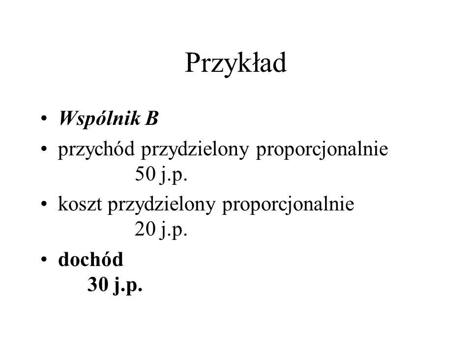 Przykład Wspólnik B przychód przydzielony proporcjonalnie 50 j.p.