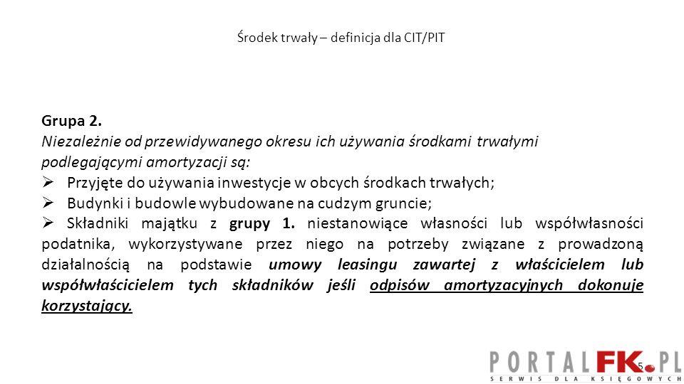 Wartości niematerialne i prawne – CIT/PIT Grupa 1.