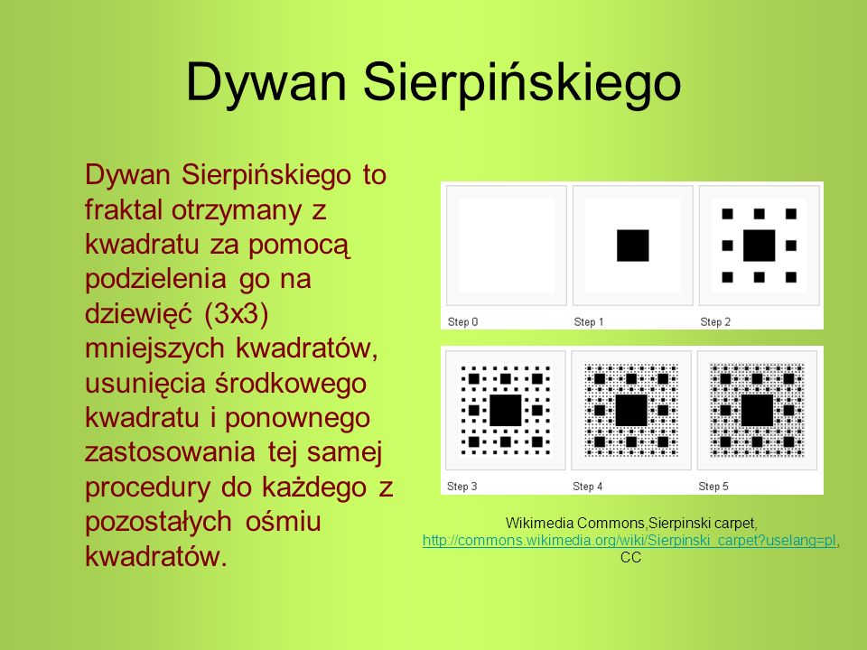 Dywan Sierpińskiego Dywan Sierpińskiego to fraktal otrzymany z kwadratu za pomocą podzielenia go na dziewięć (3x3) mniejszych kwadratów, usunięcia środkowego kwadratu i ponownego zastosowania tej samej procedury do każdego z pozostałych ośmiu kwadratów.