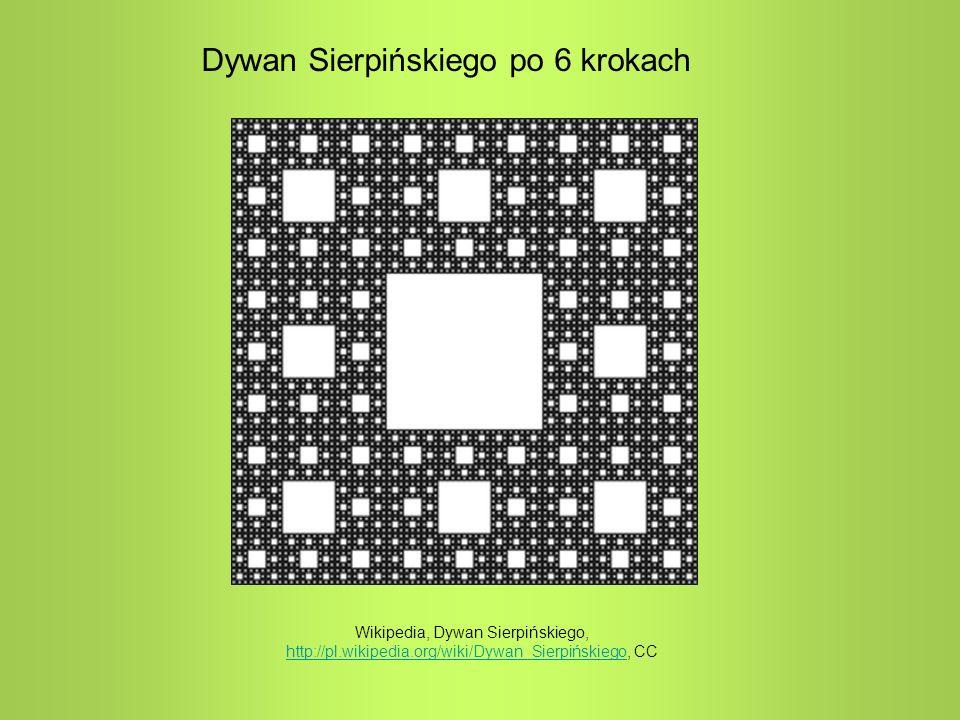 Dywan Sierpińskiego po 6 krokach Wikipedia, Dywan Sierpińskiego, http://pl.wikipedia.org/wiki/Dywan_Sierpińskiego, CC http://pl.wikipedia.org/wiki/Dyw