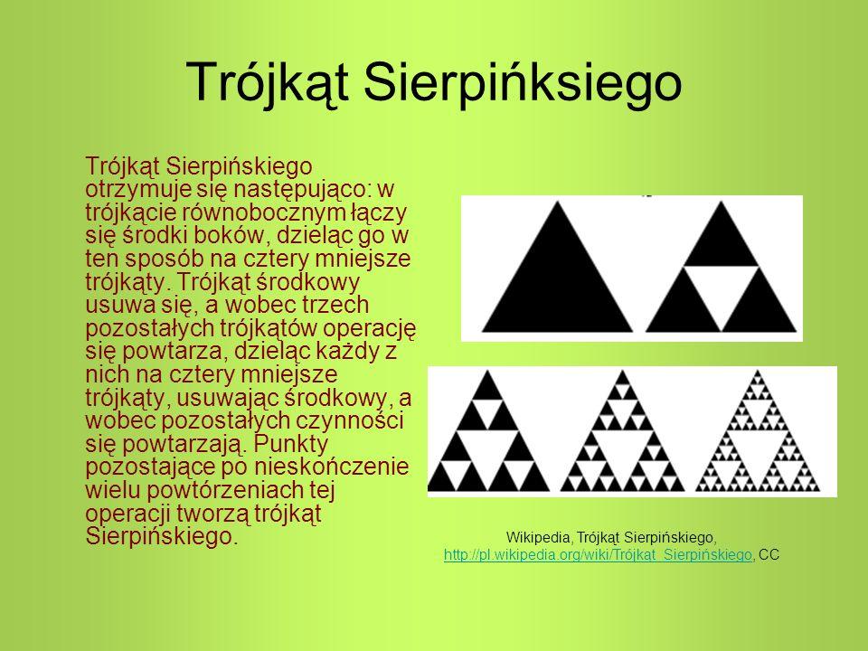 Trójkąt Sierpińksiego Trójkąt Sierpińskiego otrzymuje się następująco: w trójkącie równobocznym łączy się środki boków, dzieląc go w ten sposób na cztery mniejsze trójkąty.