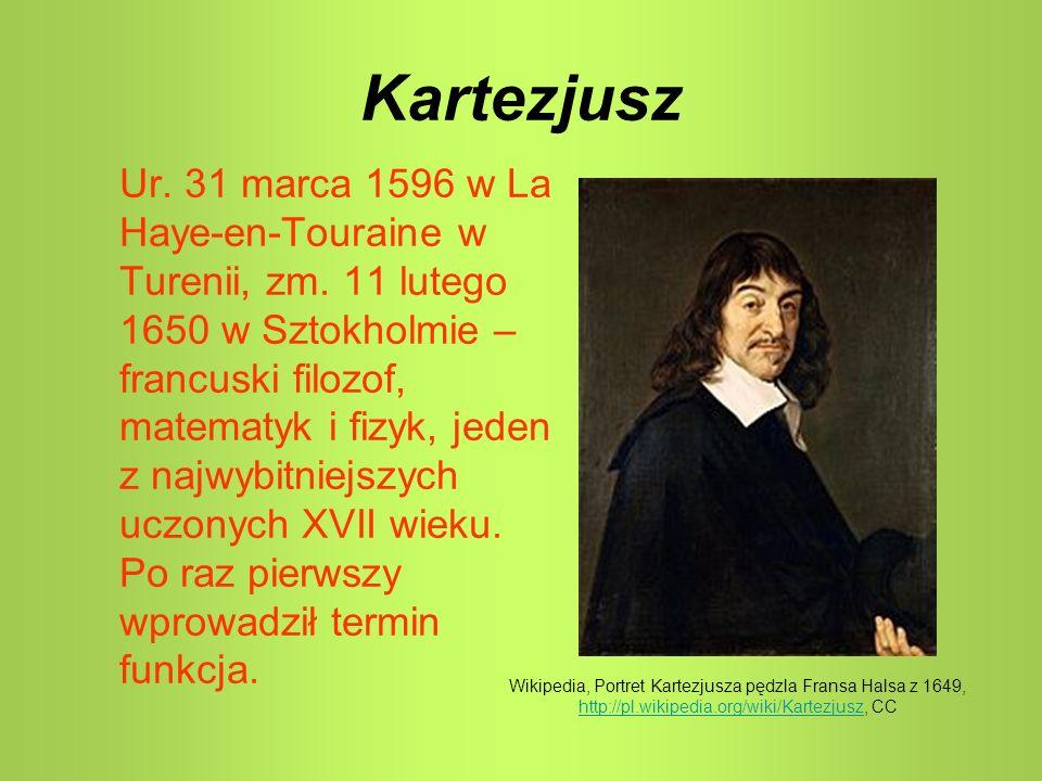 Kartezjusz Ur. 31 marca 1596 w La Haye-en-Touraine w Turenii, zm. 11 lutego 1650 w Sztokholmie – francuski filozof, matematyk i fizyk, jeden z najwybi
