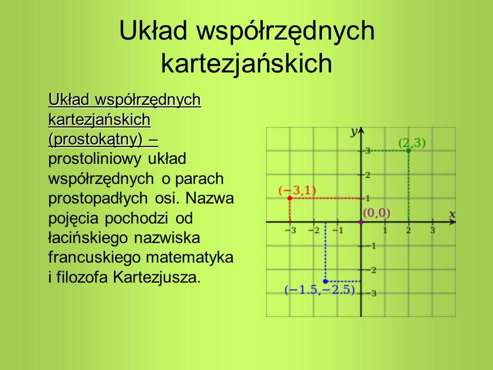Układ współrzędnych kartezjańskich Układ współrzędnych kartezjańskich (prostokątny) – Układ współrzędnych kartezjańskich (prostokątny) – prostoliniowy układ współrzędnych o parach prostopadłych osi.