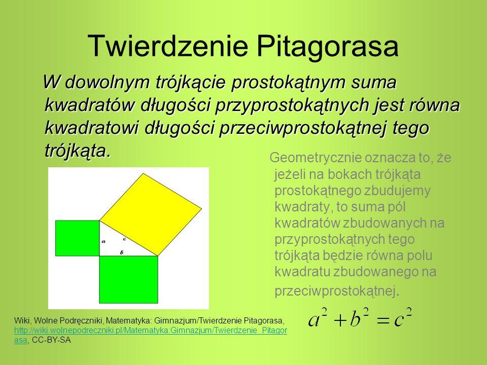 Twierdzenie Pitagorasa Geometrycznie oznacza to, że jeżeli na bokach trójkąta prostokątnego zbudujemy kwadraty, to suma pól kwadratów zbudowanych na przyprostokątnych tego trójkąta będzie równa polu kwadratu zbudowanego na przeciwprostokątnej.