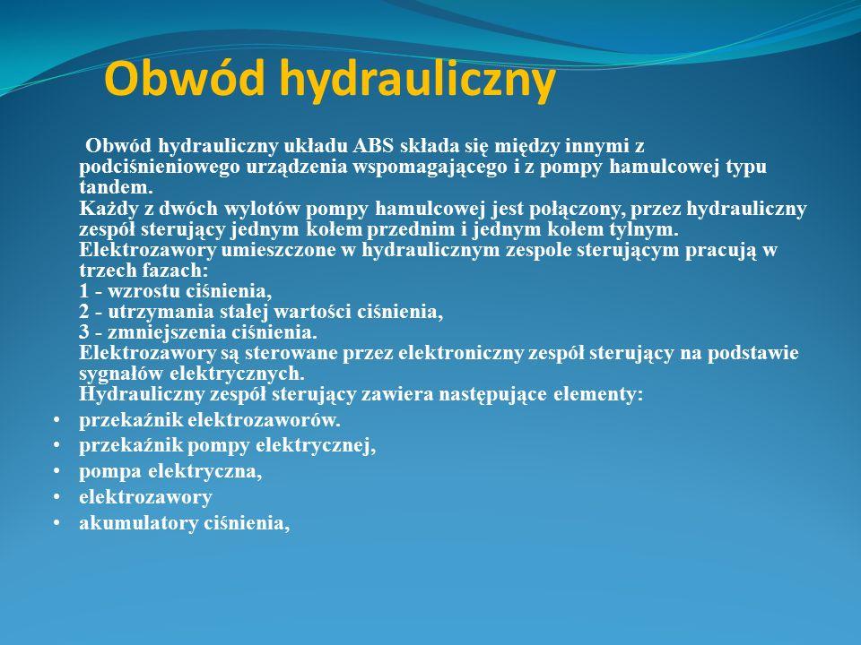 Obwód hydrauliczny Obwód hydrauliczny układu ABS składa się między innymi z podciśnieniowego urządzenia wspomagającego i z pompy hamulcowej typu tande