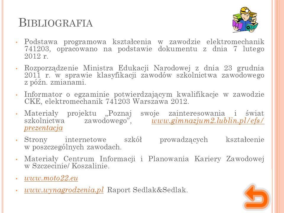 B IBLIOGRAFIA Podstawa programowa kształcenia w zawodzie elektromechanik 741203, opracowano na podstawie dokumentu z dnia 7 lutego 2012 r. Rozporządze