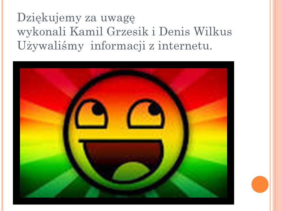 Dziękujemy za uwagę wykonali Kamil Grzesik i Denis Wilkus Używaliśmy informacji z internetu.