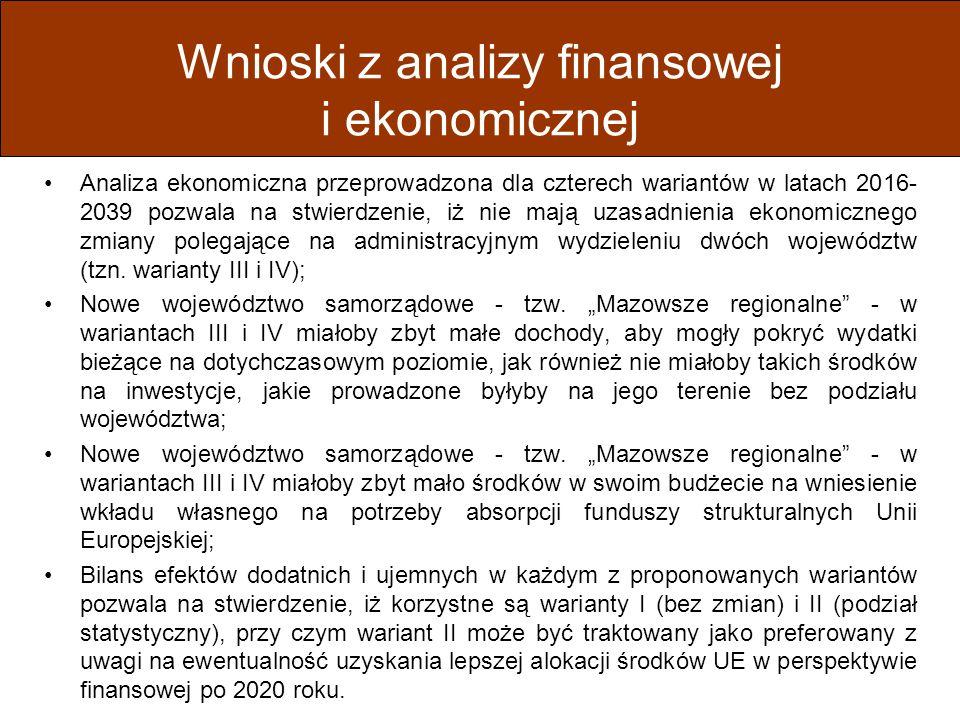 Wnioski z analizy finansowej i ekonomicznej Analiza ekonomiczna przeprowadzona dla czterech wariantów w latach 2016- 2039 pozwala na stwierdzenie, iż nie mają uzasadnienia ekonomicznego zmiany polegające na administracyjnym wydzieleniu dwóch województw (tzn.