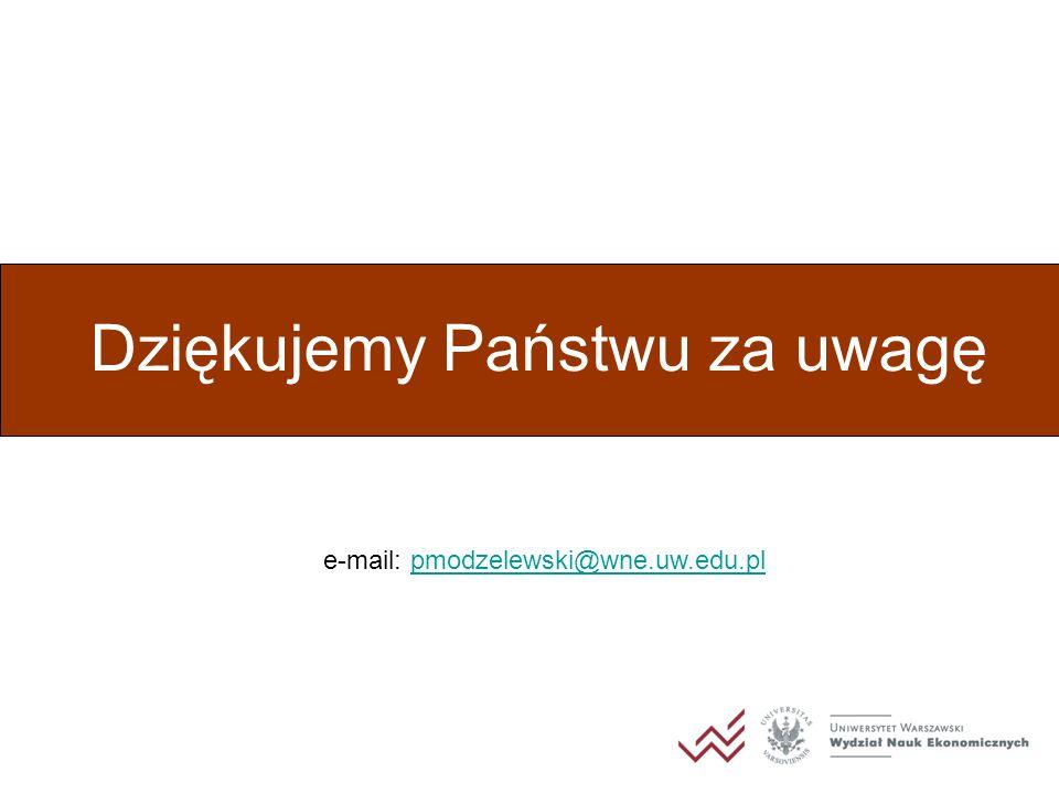 Dziękujemy Państwu za uwagę e-mail: pmodzelewski@wne.uw.edu.plpmodzelewski@wne.uw.edu.pl