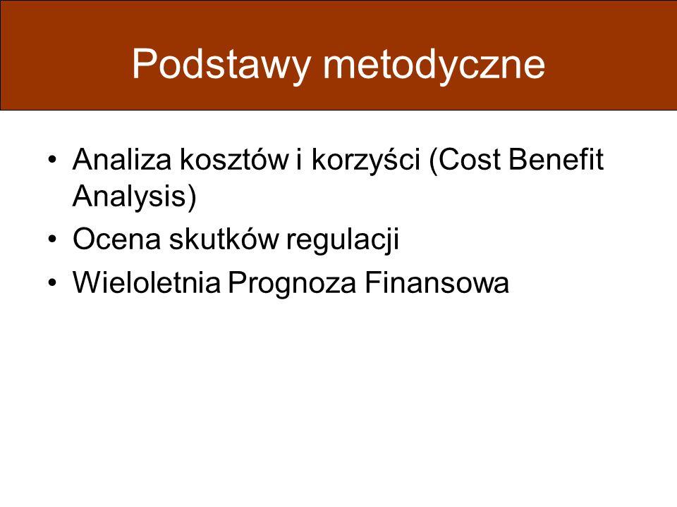 Podstawy metodyczne Analiza kosztów i korzyści (Cost Benefit Analysis) Ocena skutków regulacji Wieloletnia Prognoza Finansowa