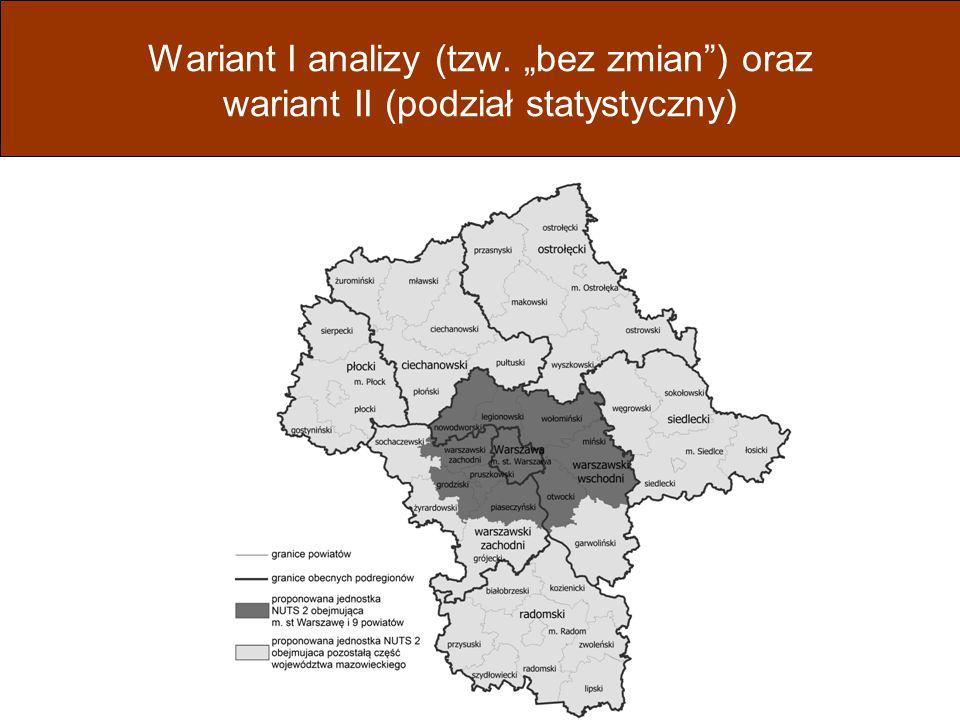 """Wariant I analizy (tzw. """"bez zmian ) oraz wariant II (podział statystyczny)"""