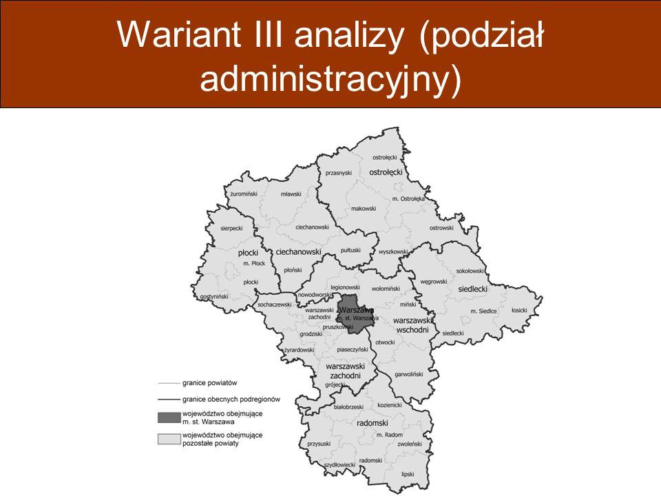 Schemat analizy efektów bezpośrednich i pośrednich dla czterech wariantów analizy Obszar analizyWarianty Wariant I (bez zmian) Wariant II (zmiana statystyczna) Wariant III (zmiana administracyjna) Wariant IV (zmiana administracyjna) m.