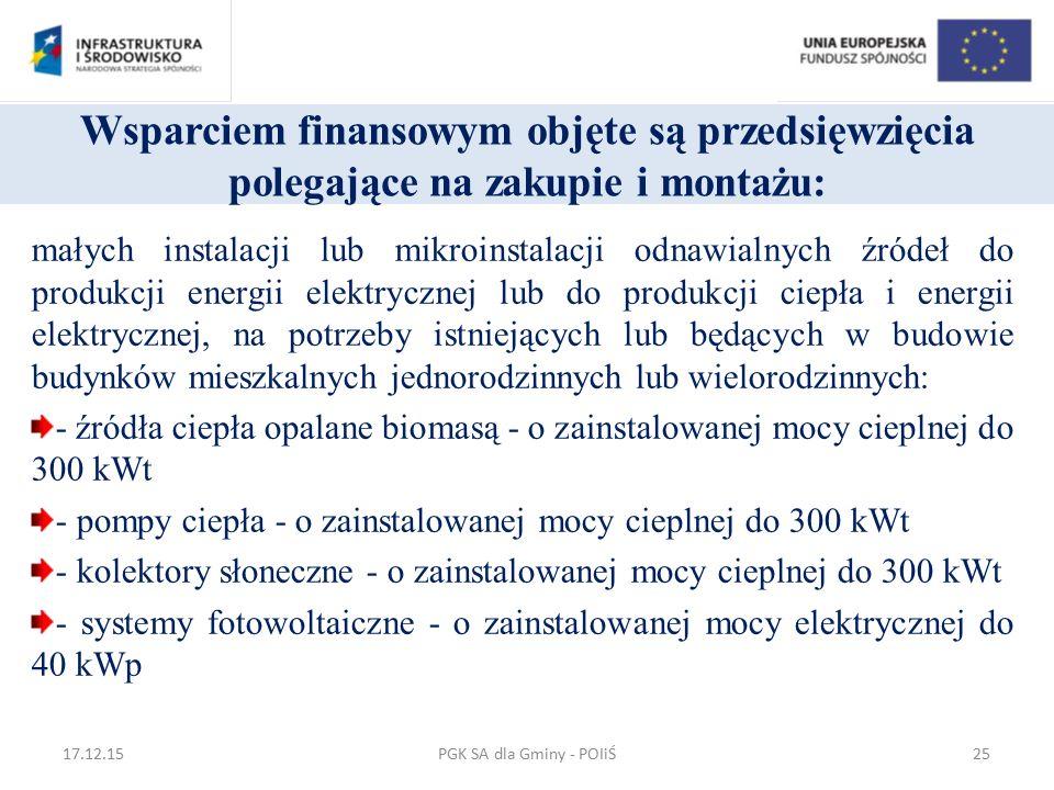 Wsparciem finansowym objęte są przedsięwzięcia polegające na zakupie i montażu: małych instalacji lub mikroinstalacji odnawialnych źródeł do produkcji