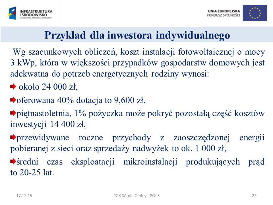 Przykład dla inwestora indywidualnego Wg szacunkowych obliczeń, koszt instalacji fotowoltaicznej o mocy 3 kWp, która w większości przypadków gospodars