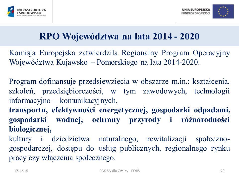 RPO Województwa na lata 2014 - 2020 Komisja Europejska zatwierdziła Regionalny Program Operacyjny Województwa Kujawsko – Pomorskiego na lata 2014-2020