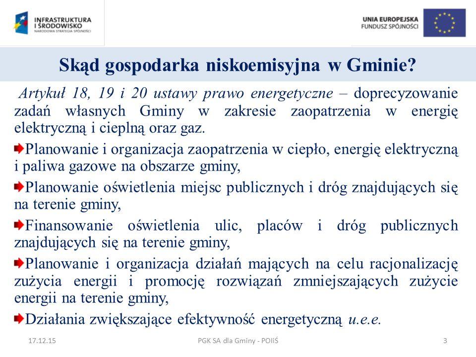 Sprawność całkowita systemu konwencjonalnego PGK SA dla Gminy - POIiŚ17.12.1534