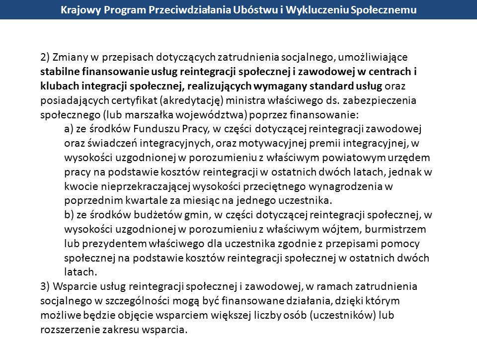 2) Zmiany w przepisach dotyczących zatrudnienia socjalnego, umożliwiające stabilne finansowanie usług reintegracji społecznej i zawodowej w centrach i klubach integracji społecznej, realizujących wymagany standard usług oraz posiadających certyfikat (akredytację) ministra właściwego ds.