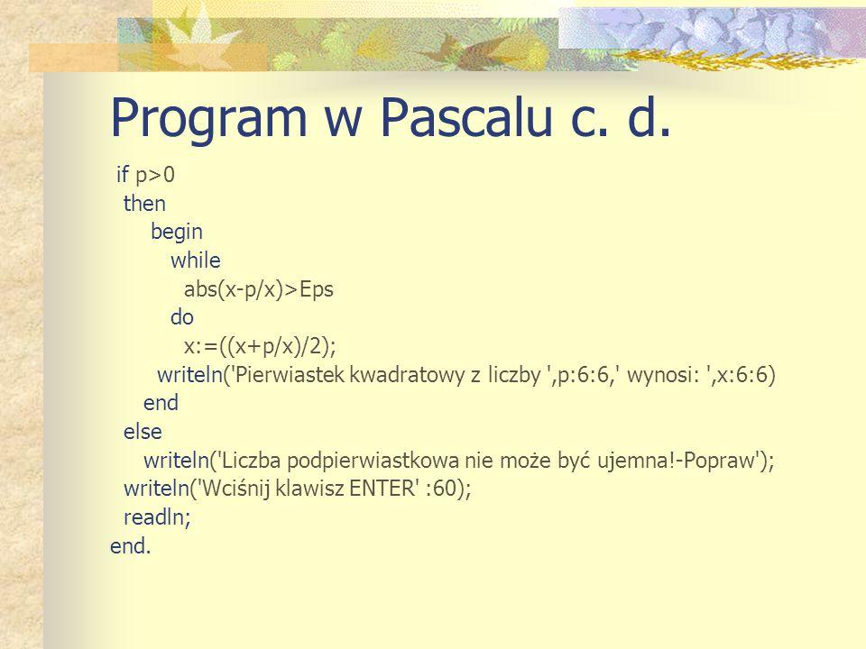 Program w Pascalu c. d.