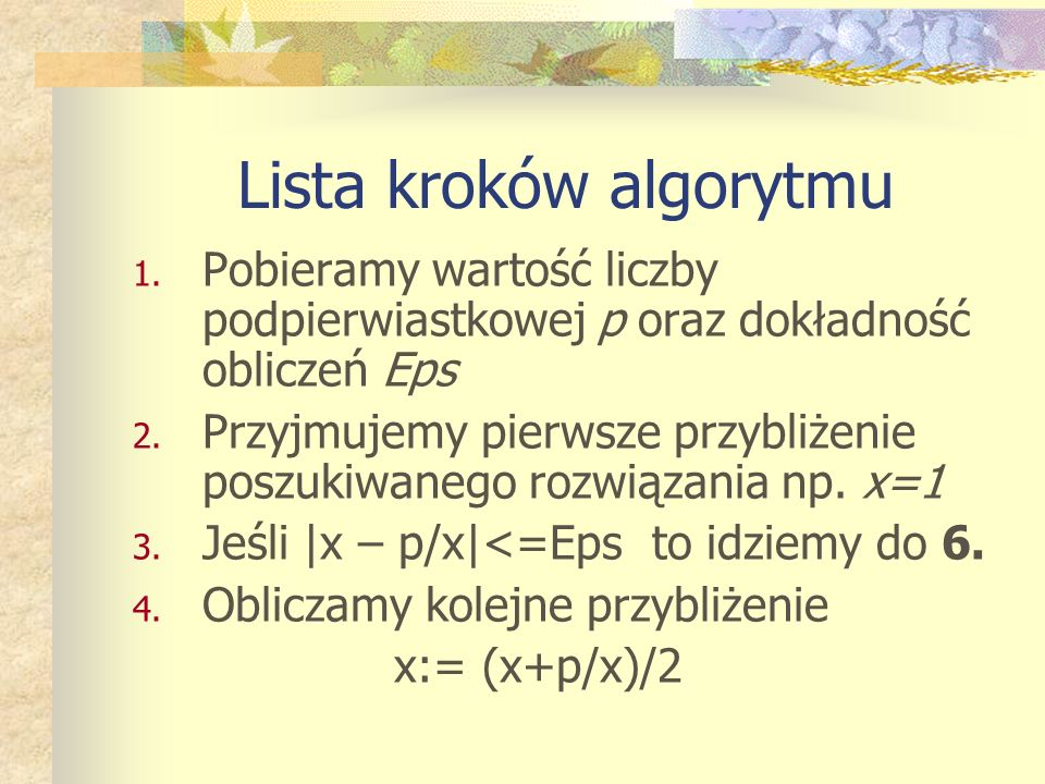 Lista kroków algorytmu 1.