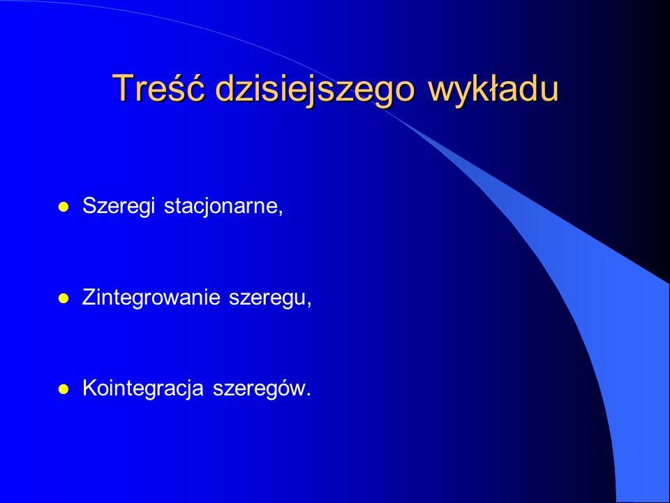 Treść dzisiejszego wykładu l Szeregi stacjonarne, l Zintegrowanie szeregu, l Kointegracja szeregów.