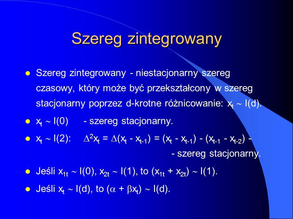 Szereg zintegrowany Szereg zintegrowany - niestacjonarny szereg czasowy, który może być przekształcony w szereg stacjonarny poprzez d-krotne różnicowa
