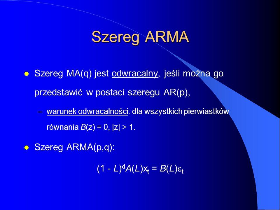Szereg ARMA l Szereg MA(q) jest odwracalny, jeśli można go przedstawić w postaci szeregu AR(p), –warunek odwracalności: dla wszystkich pierwiastków równania B(z) = 0, |z| > 1.
