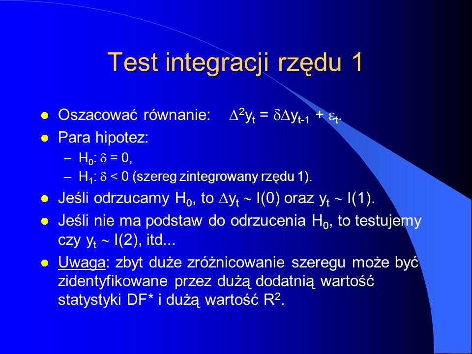 Test integracji rzędu 1 Oszacować równanie:  2 y t =  y t-1 +  t. l Para hipotez: –H 0 :  = 0, –H 1 :  < 0 (szereg zintegrowany rzędu 1). Jeśli