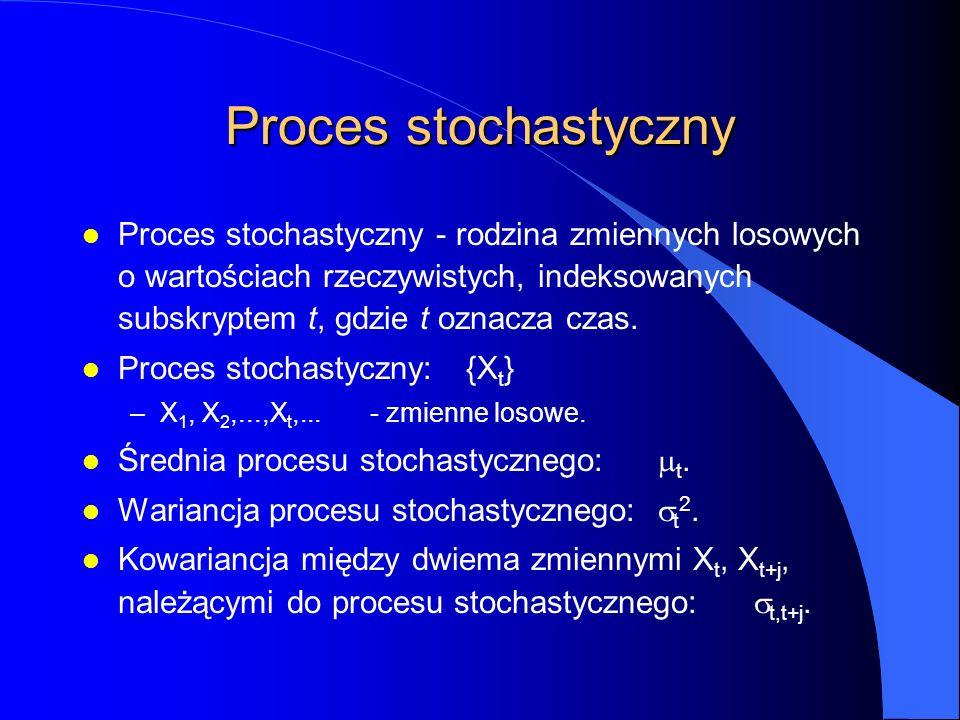 Proces stochastyczny l Proces stochastyczny - rodzina zmiennych losowych o wartościach rzeczywistych, indeksowanych subskryptem t, gdzie t oznacza cza