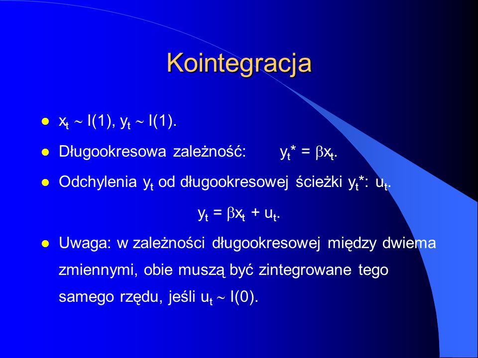 Kointegracja x t  I(1), y t  I(1). Długookresowa zależność:y t * =  x t. l Odchylenia y t od długookresowej ścieżki y t *:u t. y t =  x t + u t. U