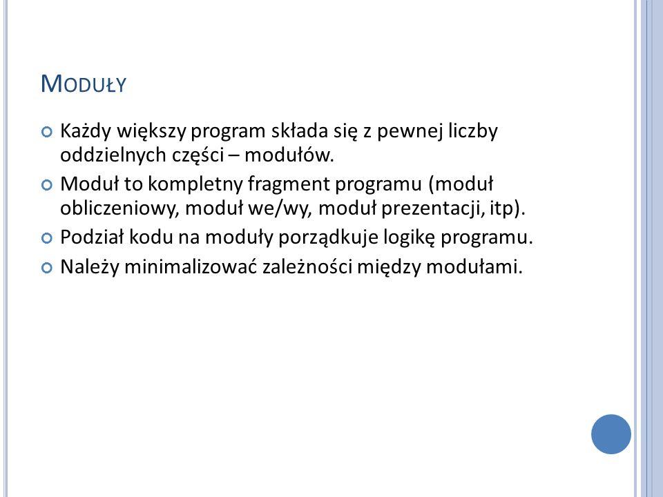 M ODUŁY Każdy większy program składa się z pewnej liczby oddzielnych części – modułów. Moduł to kompletny fragment programu (moduł obliczeniowy, moduł