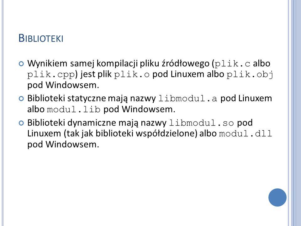 B IBLIOTEKI Wynikiem samej kompilacji pliku źródłowego ( plik.c albo plik.cpp ) jest plik plik.o pod Linuxem albo plik.obj pod Windowsem. Biblioteki s