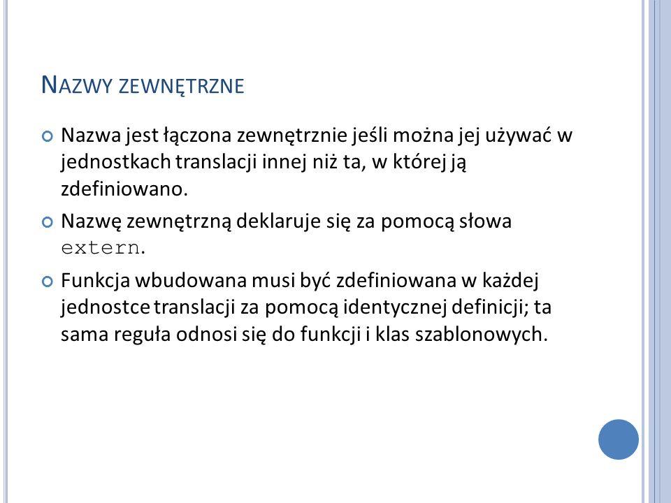 N AZWY ZEWNĘTRZNE Nazwa jest łączona zewnętrznie jeśli można jej używać w jednostkach translacji innej niż ta, w której ją zdefiniowano. Nazwę zewnętr
