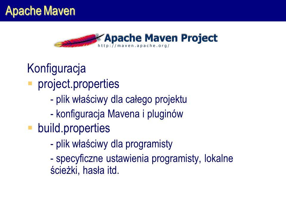 Apache Maven Konfiguracja  project.properties  - plik właściwy dla całego projektu  - konfiguracja Mavena i pluginów  build.properties  - plik właściwy dla programisty  - specyficzne ustawienia programisty, lokalne ścieżki, hasła itd.