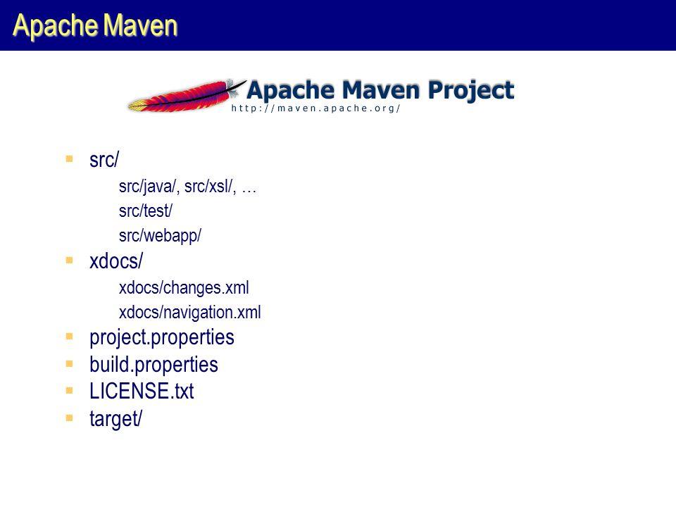 Apache Maven  src/  src/java/, src/xsl/, …  src/test/  src/webapp/  xdocs/  xdocs/changes.xml  xdocs/navigation.xml  project.properties  build.properties  LICENSE.txt  target/