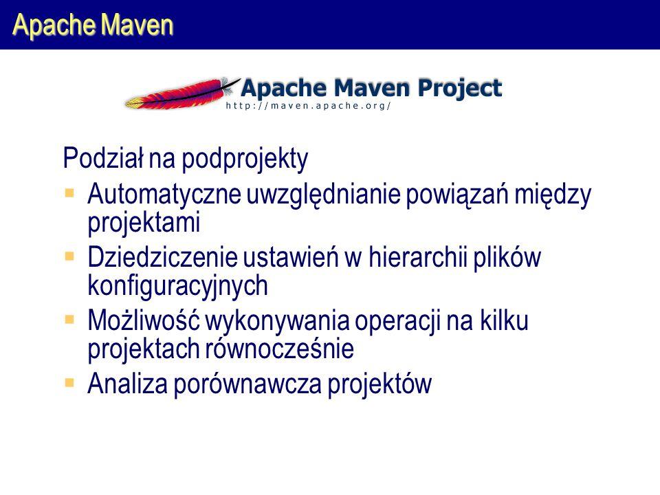 Apache Maven Podział na podprojekty  Automatyczne uwzględnianie powiązań między projektami  Dziedziczenie ustawień w hierarchii plików konfiguracyjnych  Możliwość wykonywania operacji na kilku projektach równocześnie  Analiza porównawcza projektów