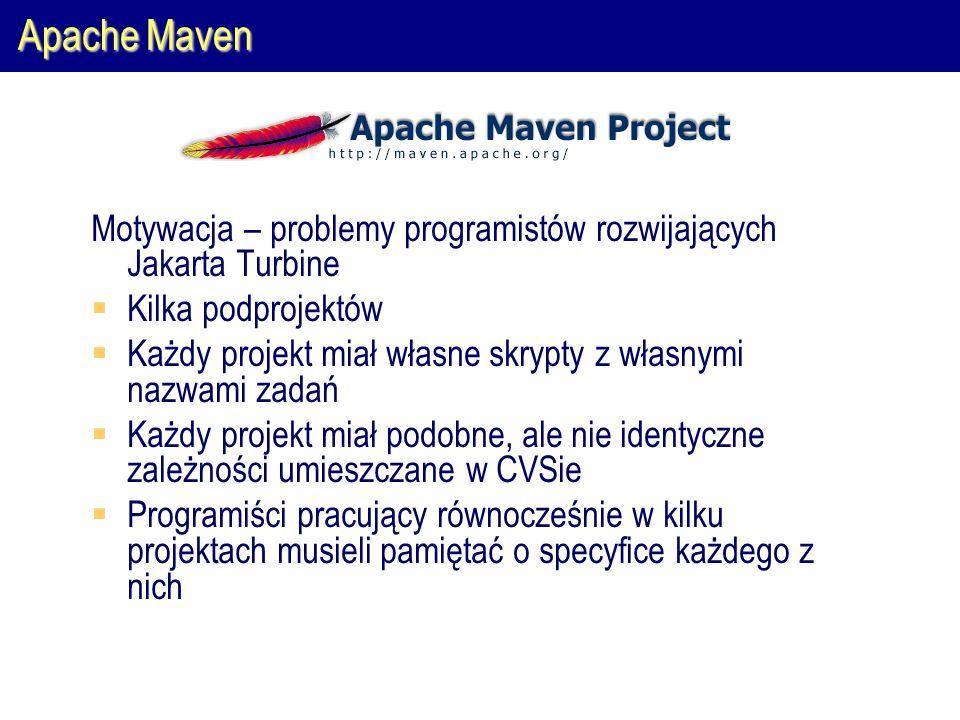 Apache Maven Motywacja – problemy programistów rozwijających Jakarta Turbine  Kilka podprojektów  Każdy projekt miał własne skrypty z własnymi nazwami zadań  Każdy projekt miał podobne, ale nie identyczne zależności umieszczane w CVSie  Programiści pracujący równocześnie w kilku projektach musieli pamiętać o specyfice każdego z nich