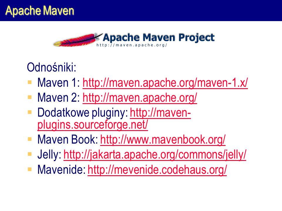 Apache Maven Odnośniki:  Maven 1: http://maven.apache.org/maven-1.x/http://maven.apache.org/maven-1.x/  Maven 2: http://maven.apache.org/http://maven.apache.org/  Dodatkowe pluginy: http://maven- plugins.sourceforge.net/http://maven- plugins.sourceforge.net/  Maven Book: http://www.mavenbook.org/http://www.mavenbook.org/  Jelly: http://jakarta.apache.org/commons/jelly/http://jakarta.apache.org/commons/jelly/  Mavenide: http://mevenide.codehaus.org/http://mevenide.codehaus.org/