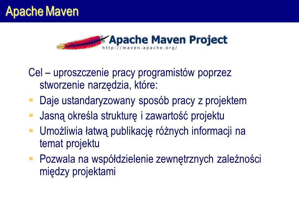Apache Maven Cel – uproszczenie pracy programistów poprzez stworzenie narzędzia, które:  Daje ustandaryzowany sposób pracy z projektem  Jasną określa strukturę i zawartość projektu  Umożliwia łatwą publikację różnych informacji na temat projektu  Pozwala na współdzielenie zewnętrznych zależności między projektami