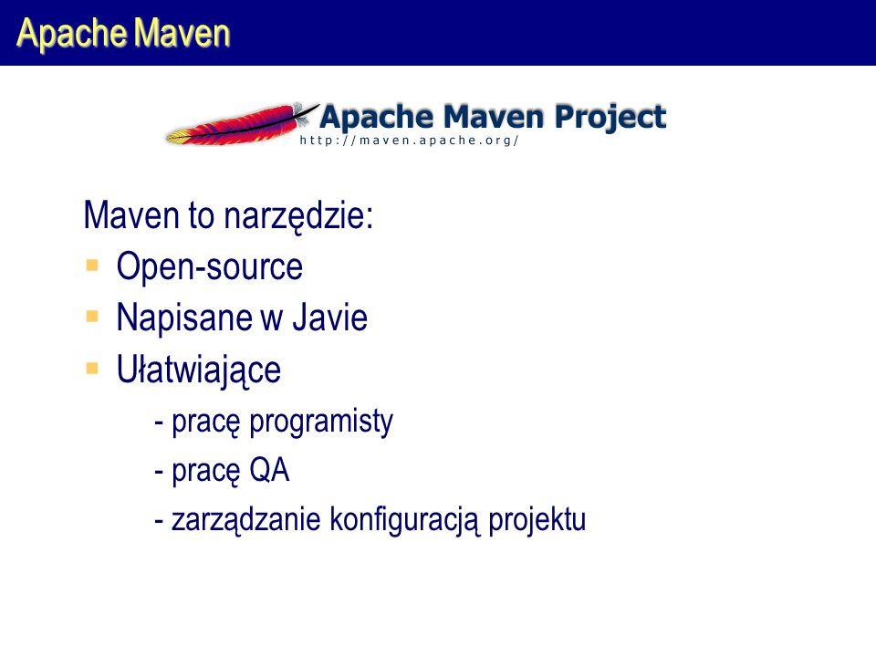 Apache Maven Maven to narzędzie:  Open-source  Napisane w Javie  Ułatwiające  - pracę programisty  - pracę QA  - zarządzanie konfiguracją projektu