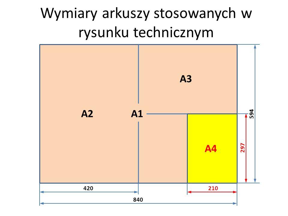 Wymiary arkuszy stosowanych w rysunku technicznym A1A2 A3 A4 420210 840 594 297