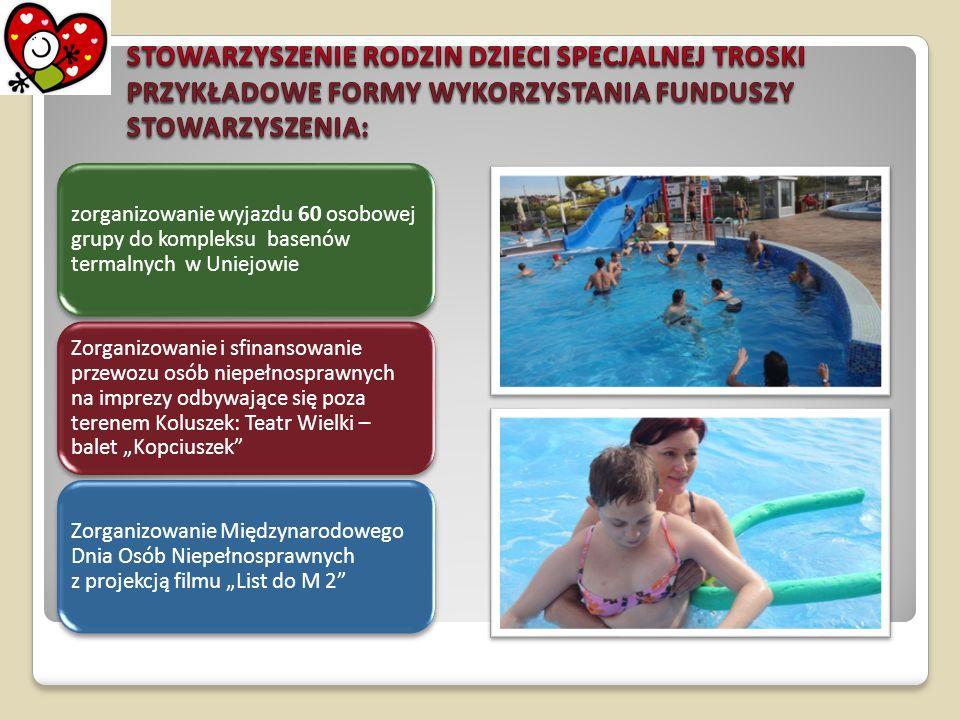 zorganizowanie wyjazdu 60 osobowej grupy do kompleksu basenów termalnych w Uniejowie Zorganizowanie i sfinansowanie przewozu osób niepełnosprawnych na
