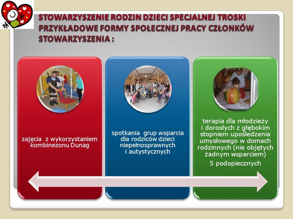 zajęcia z wykorzystaniem kombinezonu Dunag spotkania grup wsparcia dla rodziców dzieci niepełnosprawnych i autystycznych terapia dla młodzieży i doros