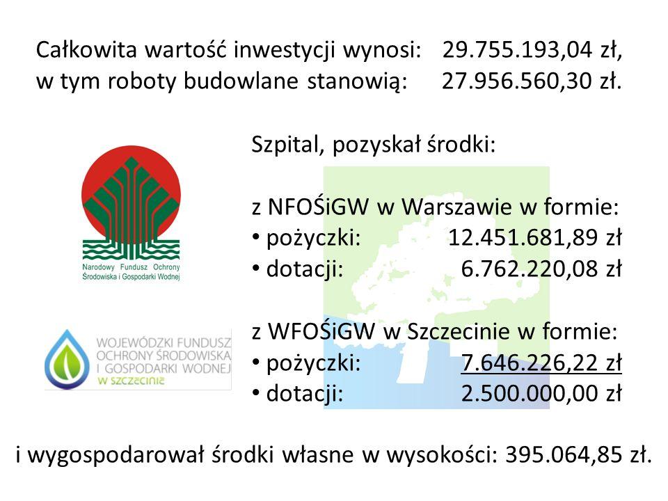 Całkowita wartość inwestycji wynosi: 29.755.193,04 zł, w tym roboty budowlane stanowią: 27.956.560,30 zł. Szpital, pozyskał środki: z NFOŚiGW w Warsza