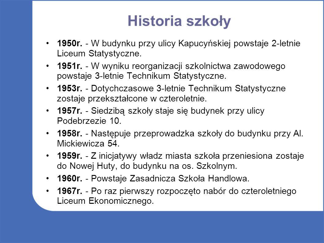 Historia szkoły 1950r. - W budynku przy ulicy Kapucyńskiej powstaje 2-letnie Liceum Statystyczne.