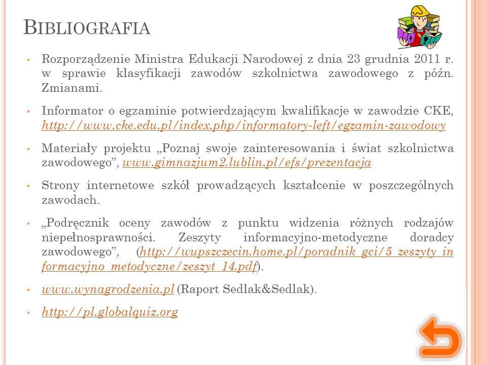 B IBLIOGRAFIA Rozporządzenie Ministra Edukacji Narodowej z dnia 23 grudnia 2011 r. w sprawie klasyfikacji zawodów szkolnictwa zawodowego z późn. Zmian